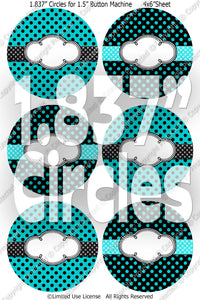"Editable 1.5"" Button Machine Images - Instant Download JPG & PDF Formats -Turquoise Polka Dots  (ET131) Digital Bottlecap Collage Sheet"