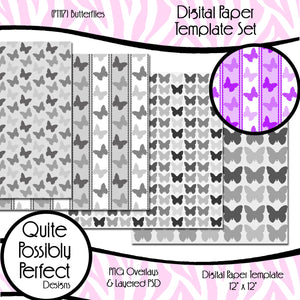 Digital Paper Template - Butterflies (PT117) CU Layered Overlay for Creating Your Own Digital Papers Commercial Use OK