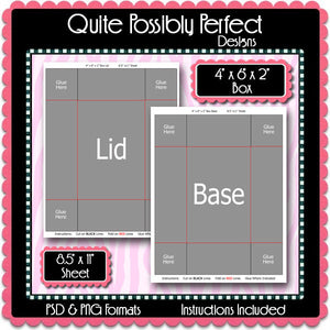 "2pc. 4"" x 6"" x 2"" Box Template Instant Download PSD and PNG Formats (Temp505) Digital Bottle Cap Collage Sheet Template"