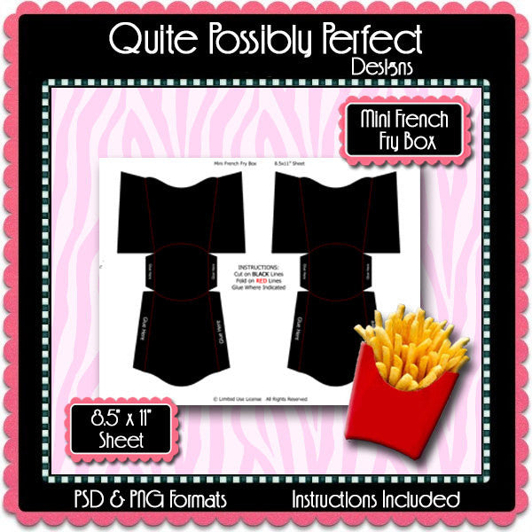 Mini French Fry Box Template Instant Download PSD and PNG Formats (Temp552) Digital Bottlecap Collage Sheet Template
