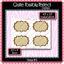 Digital Leopard Journal Tag Labels  -  Instant Download (M125) Digital Journal Tag Graphics - Personal Use & S4H
