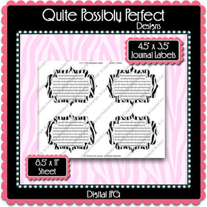 Digital Zebra Journal Tag Labels  -  Instant Download (M123) Digital Journal Tag Graphics - Personal Use & S4H