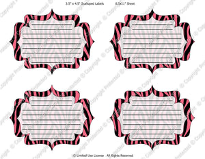 Digital Pink Zebra Journal Tag Labels  -  Instant Download (M124) Digital Journal Tag Graphics - Personal Use & S4H