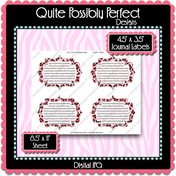 Digital Pink Leopard Journal Tag Labels  -  Instant Download (M126) Digital Journal Tag Graphics - Personal Use & S4H