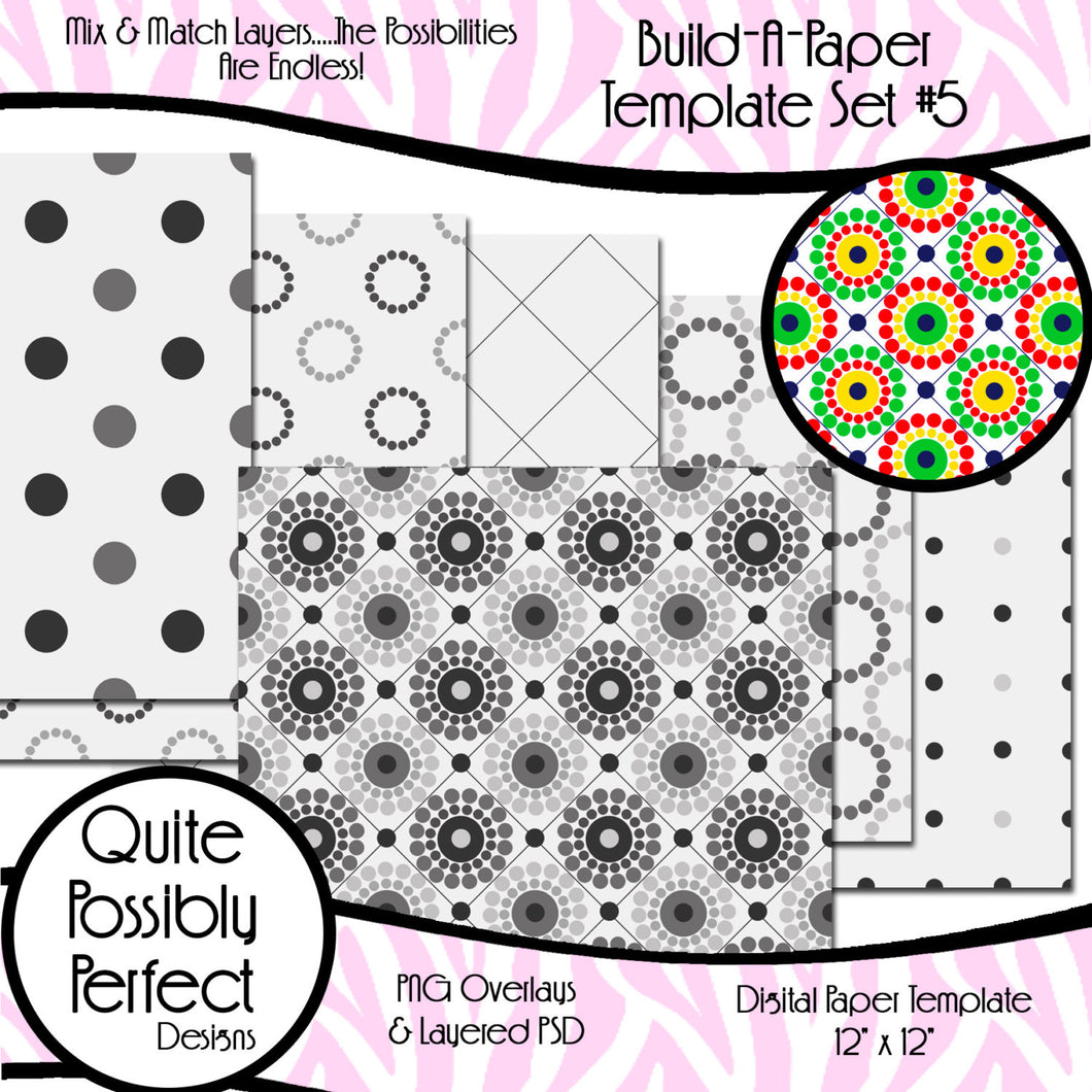 Build-A-Paper Digital Paper Template Circle Dots Set (PT118) CU Layered Overlay for Creating Your Own Digital Papers Commercial Use OK