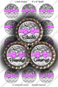 Editable Bottle Cap Images - Instant Download JPG & PDF Format - Lavender Ribbon Silver Glitter Wrap (ET176) Digital Bottlecap Collage Sheet