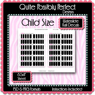 Child Size Digital Waterslide Nail DecalsTemplate  - Instant Download (T561) Digital Nail Art Decal Graphics - Personal & Commercial Use OK