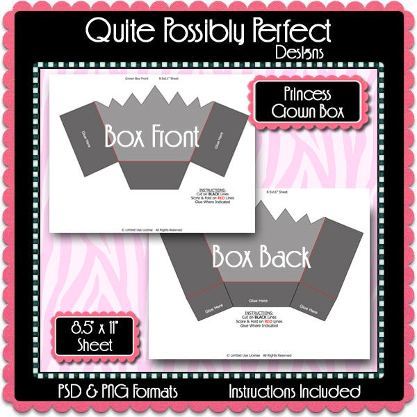 Princess Crown Box Template Instant Download PSD and PNG Formats (Temp566) Digital Bottle Cap Collage Sheet Template