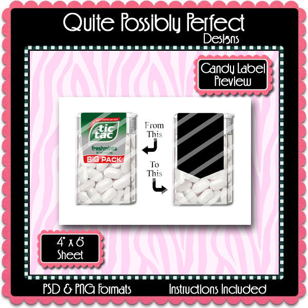 Wrapover Banner Candy Label Preview Template Instant Download PSD and PNG Formats (Temp570) Digital Bottlecap Collage Sheet Template