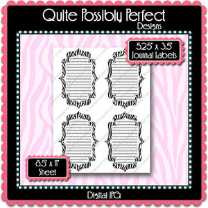 Digital Zebra Journal Tag Labels  -  Instant Download (M127) Digital Journal Tag Graphics - Personal Use & S4H