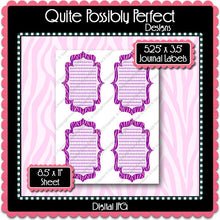 Digital Purple Pink Zebra Journal Tag Labels  -  Instant Download (M128) Digital Journal Tag Graphics - Personal Use & S4H