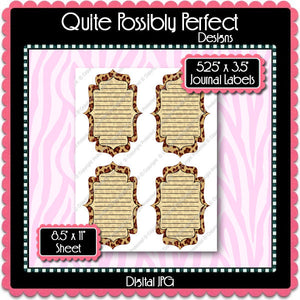 Digital Leopard Journal Tag Labels  -  Instant Download (M130) Digital Journal Tag Graphics - Personal Use & S4H