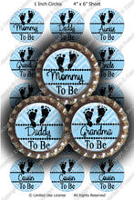 Digital Bottle Cap Images - Chevron Baby To Be Blue (ETR116) 1 Inch Circles for Bottlecaps, Magnets, Jewelry, Hairbows, Buttons