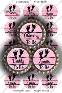 Digital Bottle Cap Images - Chevron Baby To Be Pink (ETR117) 1 Inch Circles for Bottlecaps, Magnets, Jewelry, Hairbows, Buttons