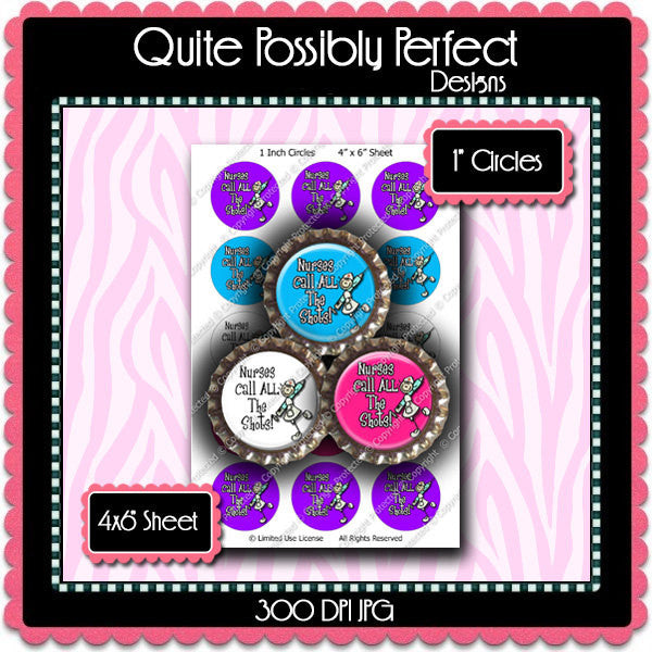 Digital Bottle Cap Images - Nurses Call The Shots Collage Sheet (ETR112) 1 Inch Circles for Bottlecaps, Magnets, Jewelry, Hairbows, Buttons