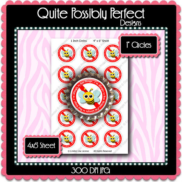 Digital Bottle Cap Images - Bee Sting Allergies (ETR124) 1 Inch Circles for Bottlecaps, Magnets, Jewelry, Hairbows, Buttons