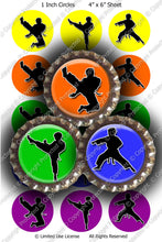 Digital Bottle Cap Images - Martial Arts Karate (ETR125) 1 Inch Circles for Bottlecaps, Magnets, Jewelry, Hairbows, Buttons