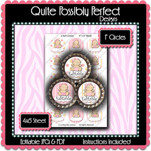 Editable Bottle Cap Images - Instant Download JPG and PDF Formats - Baby Girl Editable (ET182) Digital Bottlecap Collage Sheet