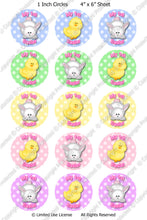 Digital Bottle Cap Images - Baby's 1st Easter Collage Sheet (ETR105) 1 Inch Circles for Bottlecaps, Magnets, Jewelry, Hairbows, Buttons