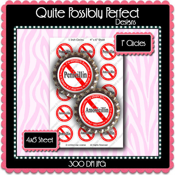 Digital Bottle Cap Images - Antibiotic Allergies (ETR121) 1 Inch Circles for Bottlecaps, Magnets, Jewelry, Hairbows, Buttons