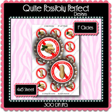 Digital Bottle Cap Images - Nut Peanut Allergies (ETR122) 1 Inch Circles for Bottlecaps, Magnets, Jewelry, Hairbows, Buttons