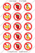 Digital Bottle Cap Images - Fruit Allergies (ETR123) 1 Inch Circles for Bottlecaps, Magnets, Jewelry, Hairbows, Buttons