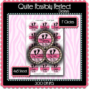 Digital Bottle Cap Images - Pink Chevron Baby To Be 3 (ETR126) 1 Inch Circles for Bottlecaps, Magnets, Jewelry, Hairbows, Buttons