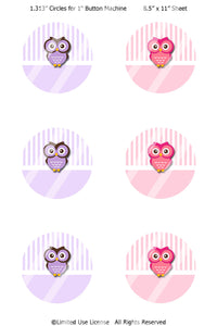 "Editable 1"" Button Machine Images - Instant Download JPG Images - Girly Owls  (ET125) Digital Bottlecap Collage Sheet"