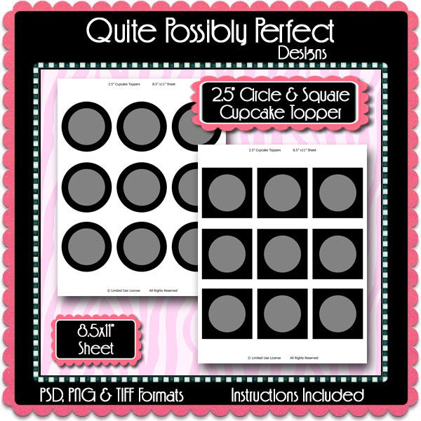 Cupcake Topper Template Instant Download PSD and PNG Formats (Temp598) 8.5x11 and A4 Sizes Digital Template