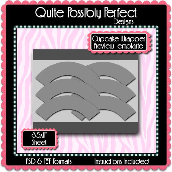 Cupcake Wrapper Preview Template Instant Download PSD and PNG Formats (Temp595) Digital Bottlecap Collage Sheet Template