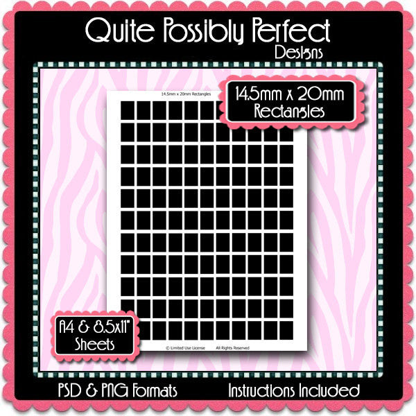 14.5x20mm Rectangles Template Instant Download PSD and PNG Formats (Temp600) 8.5x11 and A4 Sizes Digital Template