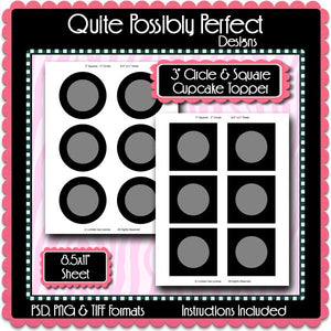 "3"" Cupcake Topper Template Instant Download PSD and PNG Formats (Temp602) 8.5x11 Size Digital Template"