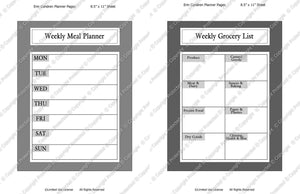 Daily Planner Template Set Instant Download PSD and PNG Formats (M139) 8.5x11 Inch Sizes Digital Template