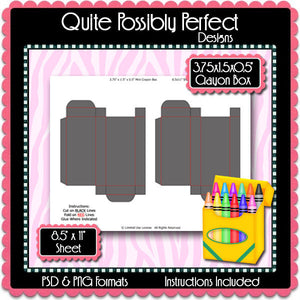 Crayon Box Template Instant Download PSD and PNG Formats (Temp604) Crayon Box Digital Bottlecap Collage Sheet Template