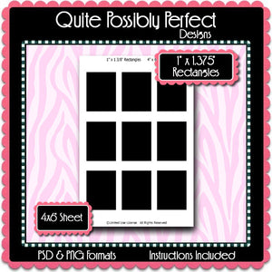 1 x1 3/8 Inch Rectangle Template Instant Download PSD and PNG Formats (Temp605) 4x6 Inch Digital Bottlecap Collage Sheet Template