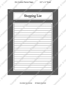 Daily Planner Template - Shopping List - Instant Download PSD and PNG Formats (M134) 8.5x11 Inch Sizes Digital Template