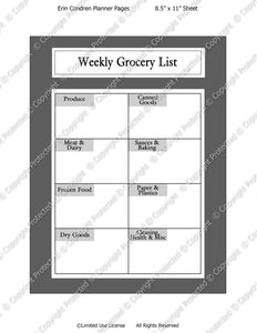 Daily Planner Template - Grocery List - Instant Download PSD and PNG Formats (m135) 8.5x11 Inch Sizes Digital Template