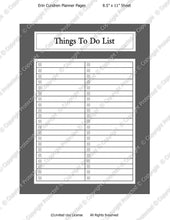Daily Planner Template - Things To Do List - Instant Download PSD and PNG Formats (M136) 8.5x11 Inch Sizes Digital Template