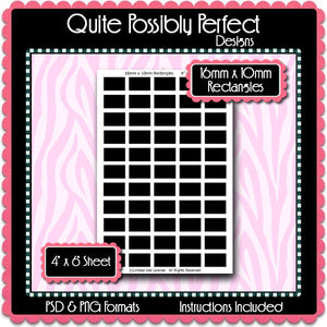 10x16mm Rectangles Instant Download PSD and PNG Formats (Temp607) Digital Bottlecap Collage Sheet Template