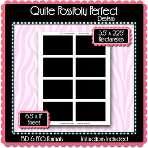 3.5 x 2.25 Inch Rectangle Template Instant Download PSD and PNG Formats (Temp608) 8.5x11 Inch Digital Bottlecap Collage Sheet Template