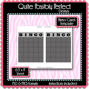 Bingo Cards Template Instant Download PSD and PNG Formats (Temp609) Digital Party Game Template