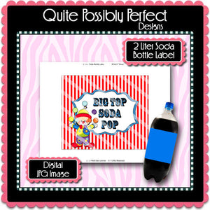 Digital Circus 2 Liter Soda Bottle Label  -  Instant Download (M205) Digital Party Graphics - PERSONAL USE Only