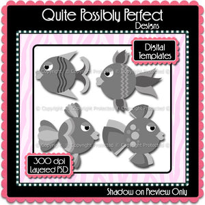 PSD Layered Digital Template - Fishy Clipart Template (dgt101) CU Layered Digital Template for Creating Your Own Clipart Commercial Use OK
