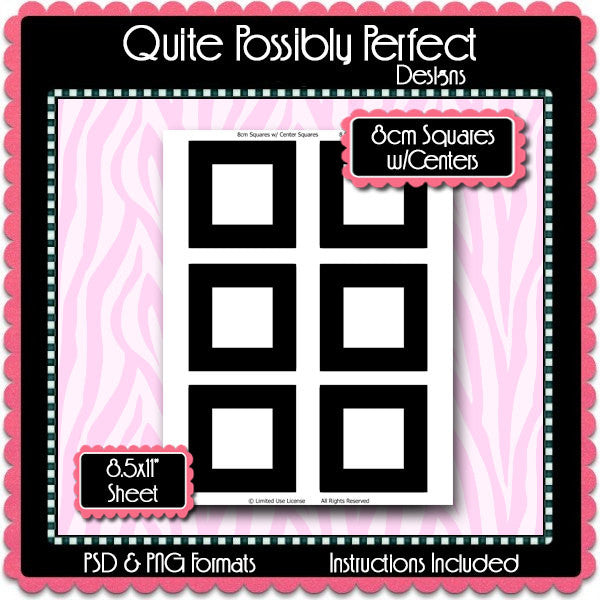 8cm Squares w/ Hideable Center Squares Template Instant Download PSD and PNG Formats (Temp622)Digital Bottle Cap Collage Sheet Template