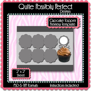 Scalloped Cupcake Topper Preview Template Instant Download PSD and PNG Formats (Temp624) Digital Bottlecap Collage Sheet Template