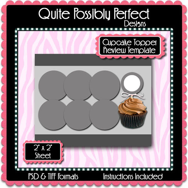 Cupcake Topper Preview Template Instant Download PSD and PNG Formats (Temp625) Digital Bottlecap Collage Sheet Template