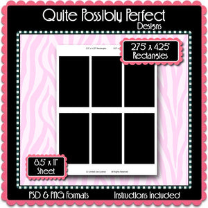 "2.5"" x 4.25"" Rectangles Template Instant Download PSD and PNG Formats (Temp627) 8.5x11"" Digital Bottle Cap Collage Sheet Template"