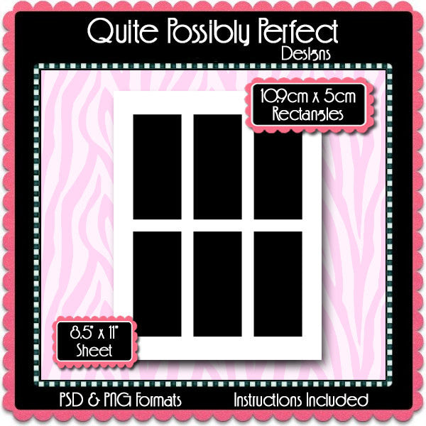 10.9cm x 5cm Rectangles Template Instant Download PSD and PNG Formats (Temp628) 8.5x11