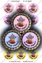 Digital Bottle Cap Images - Football Princess (S195) 1 Inch Circles for Bottlecaps, Magnets, Jewelry, Hairbows, Buttons