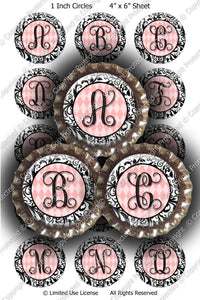 Digital Bottle Cap Images - Damask Vine Initials (ETR129) 1 Inch Circles for Bottlecaps, Magnets, Jewelry, Hairbows, Buttons